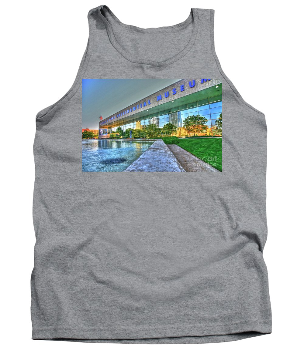 Gerald R. Ford Presidential Museum Tank Top featuring the photograph Grand Rapids Mi- 16 Hdr by Robert Pearson