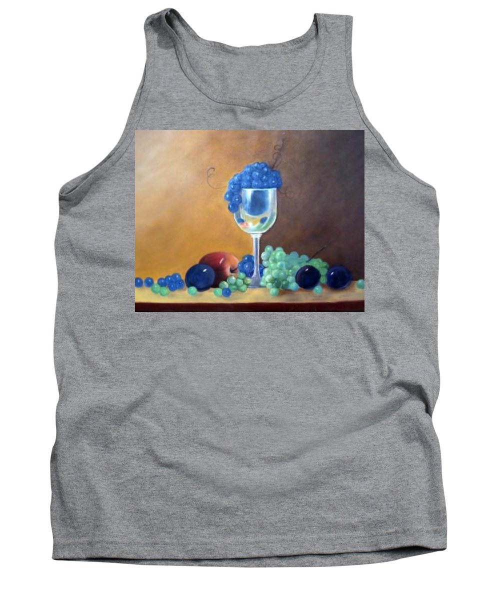 Wine Galsses With Grapes Tank Top featuring the painting Grapes And Plums by Susan Dehlinger
