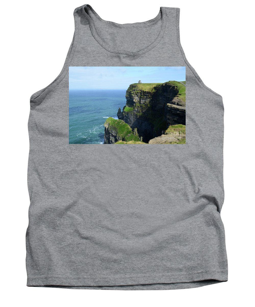 O'brien's-tower Tank Top featuring the photograph Grass Growing Along The Cliff's Of Moher In Ireland by DejaVu Designs