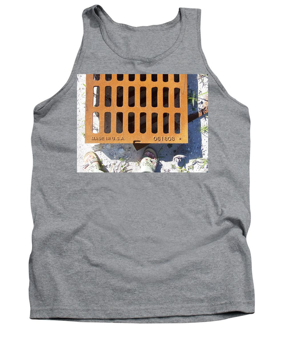 Pattern Tank Top featuring the photograph Grate In Summer Sun by Laurie Paci
