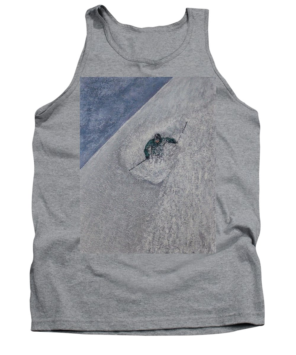Ski Tank Top featuring the painting Gravity by Michael Cuozzo