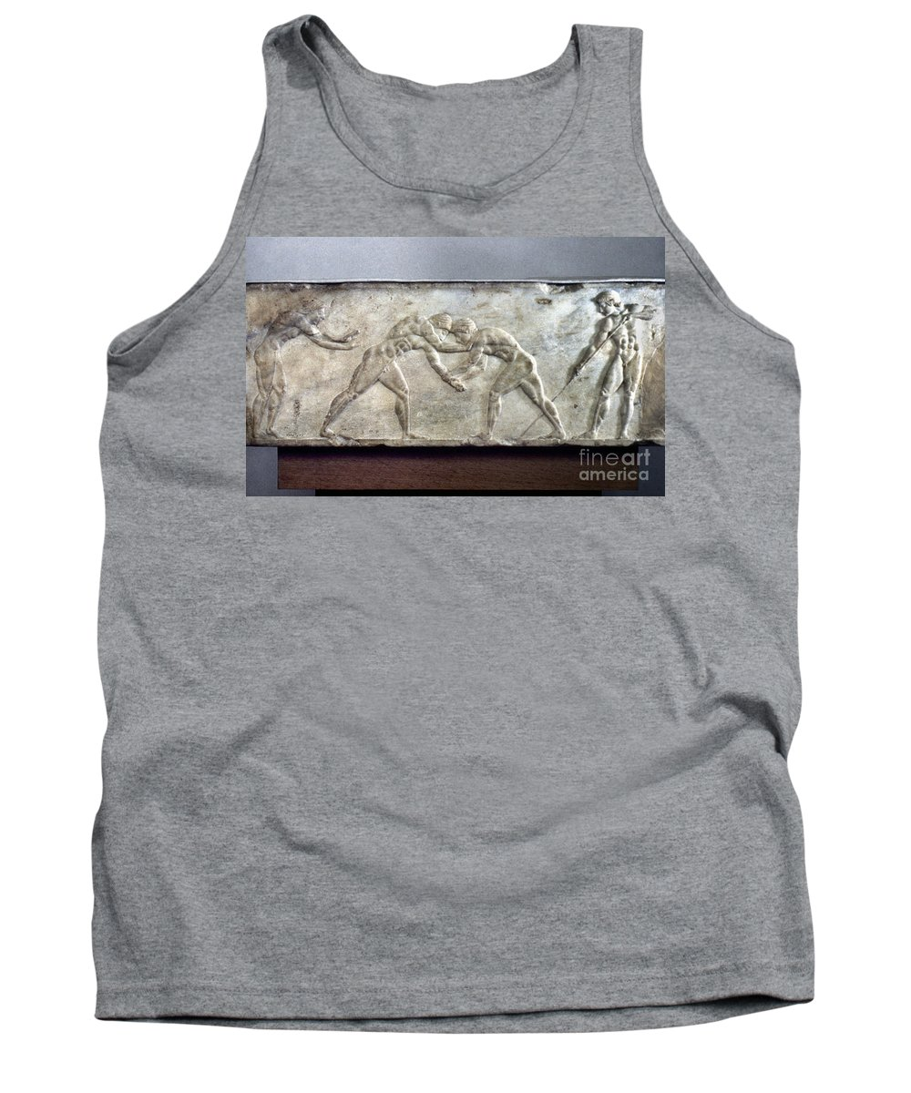 Ancient Tank Top featuring the photograph Greece: Wrestlers by Granger