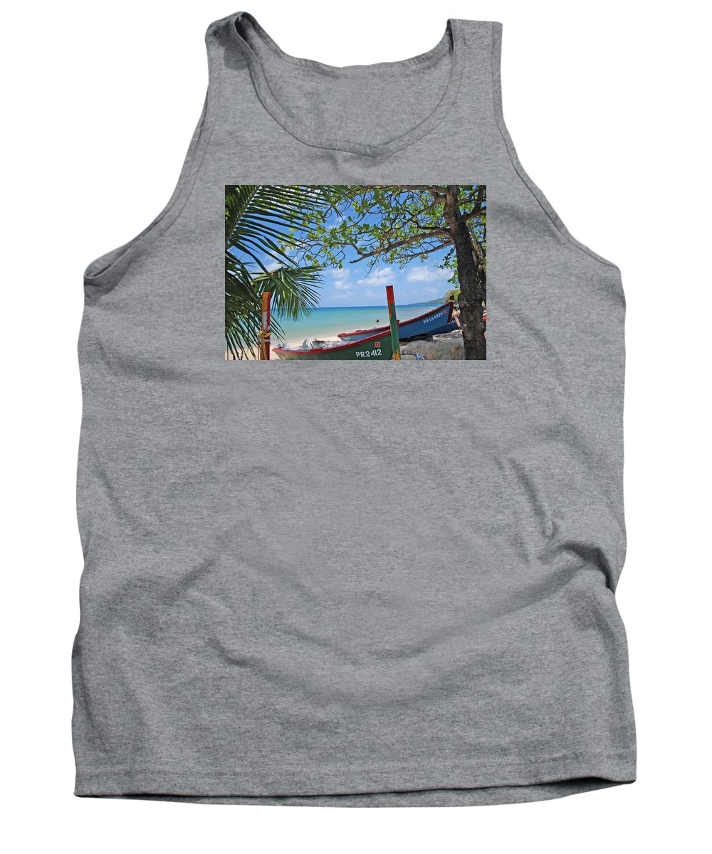 Tank Top featuring the photograph Green And Blue Boat by Ronald Hilbig