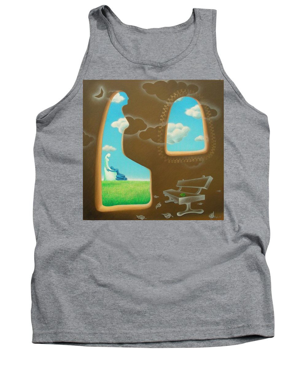 Romantic Tank Top featuring the painting Green And Blue by Raju Bose