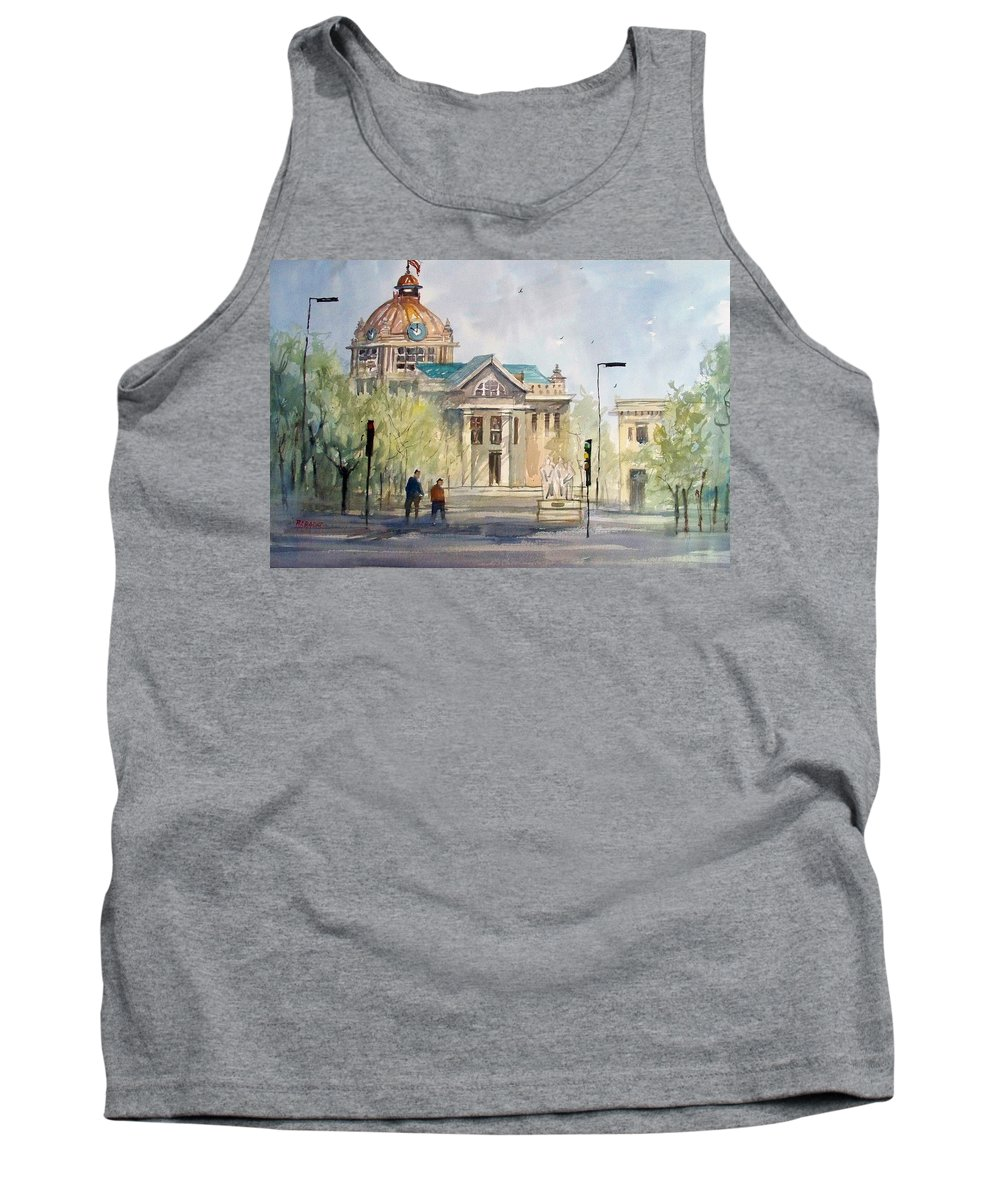 Watercolor Tank Top featuring the painting Green Bay Courthouse by Ryan Radke
