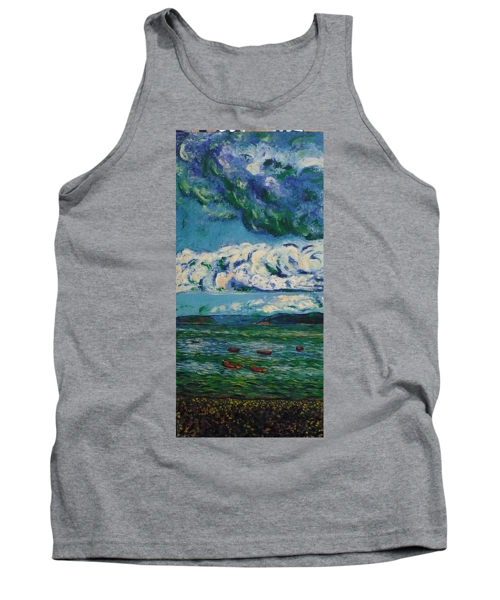 Landscape Tank Top featuring the painting Green Beach by Ericka Herazo