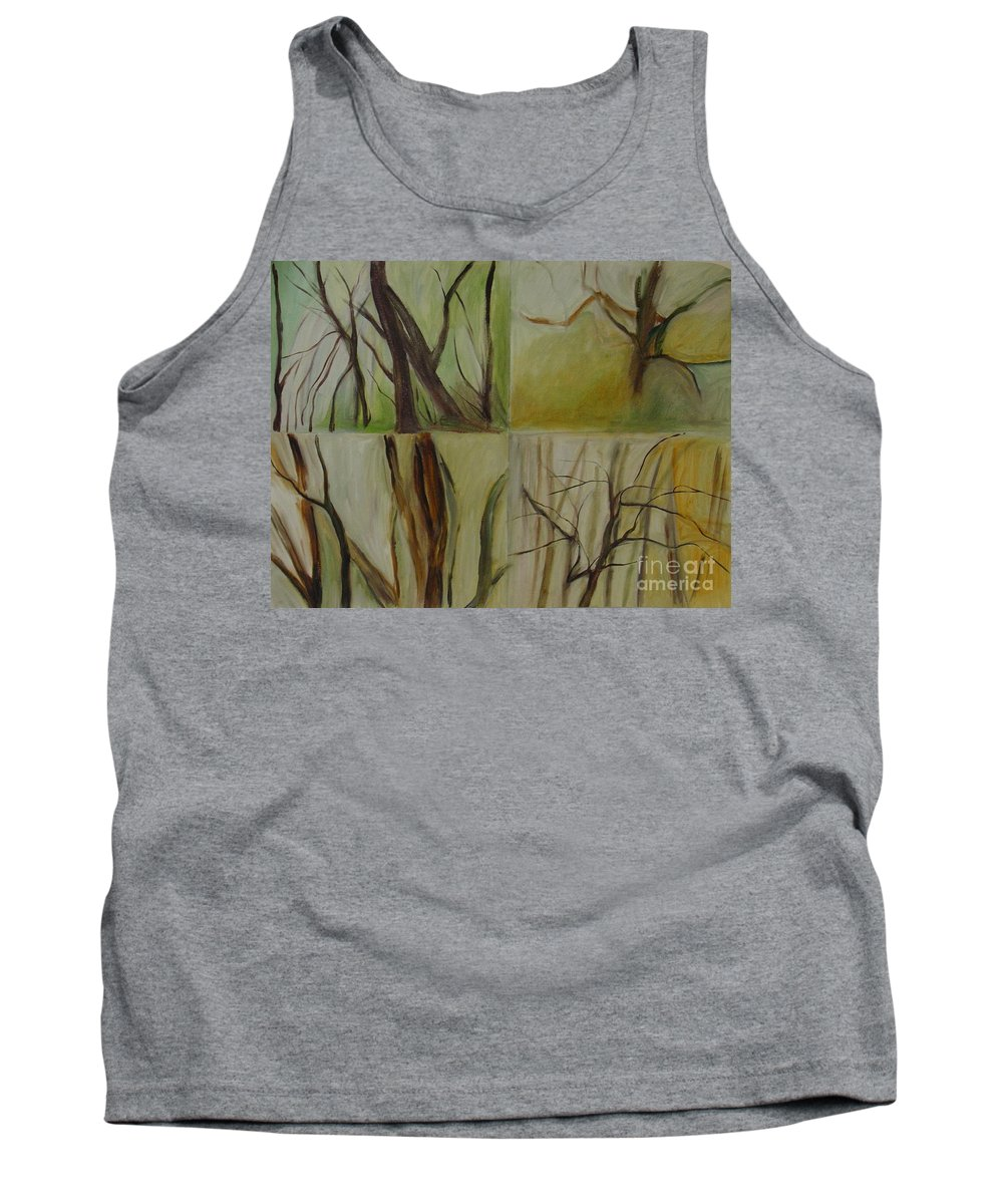 Spring Young Trees Saplings Trees Tank Top featuring the painting Green Sonnet by Leila Atkinson