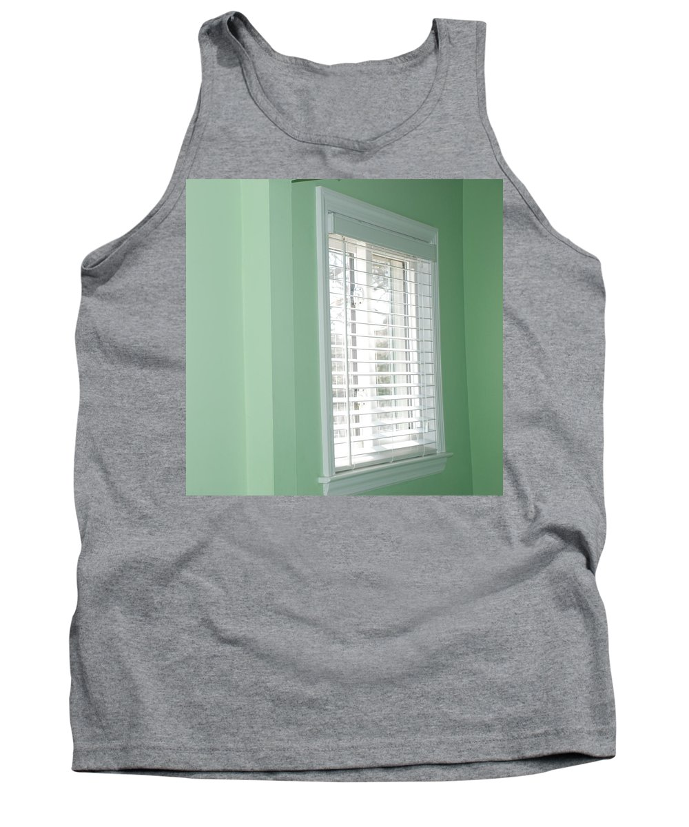 Architecture Tank Top featuring the photograph Green Wall White Window by Rob Hans