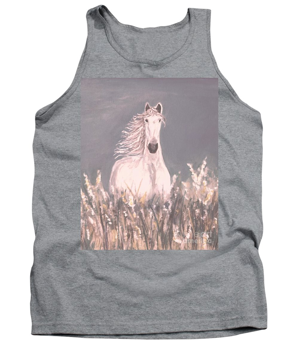 Horse Painting Tank Top featuring the painting Grey And White by Leslie Allen