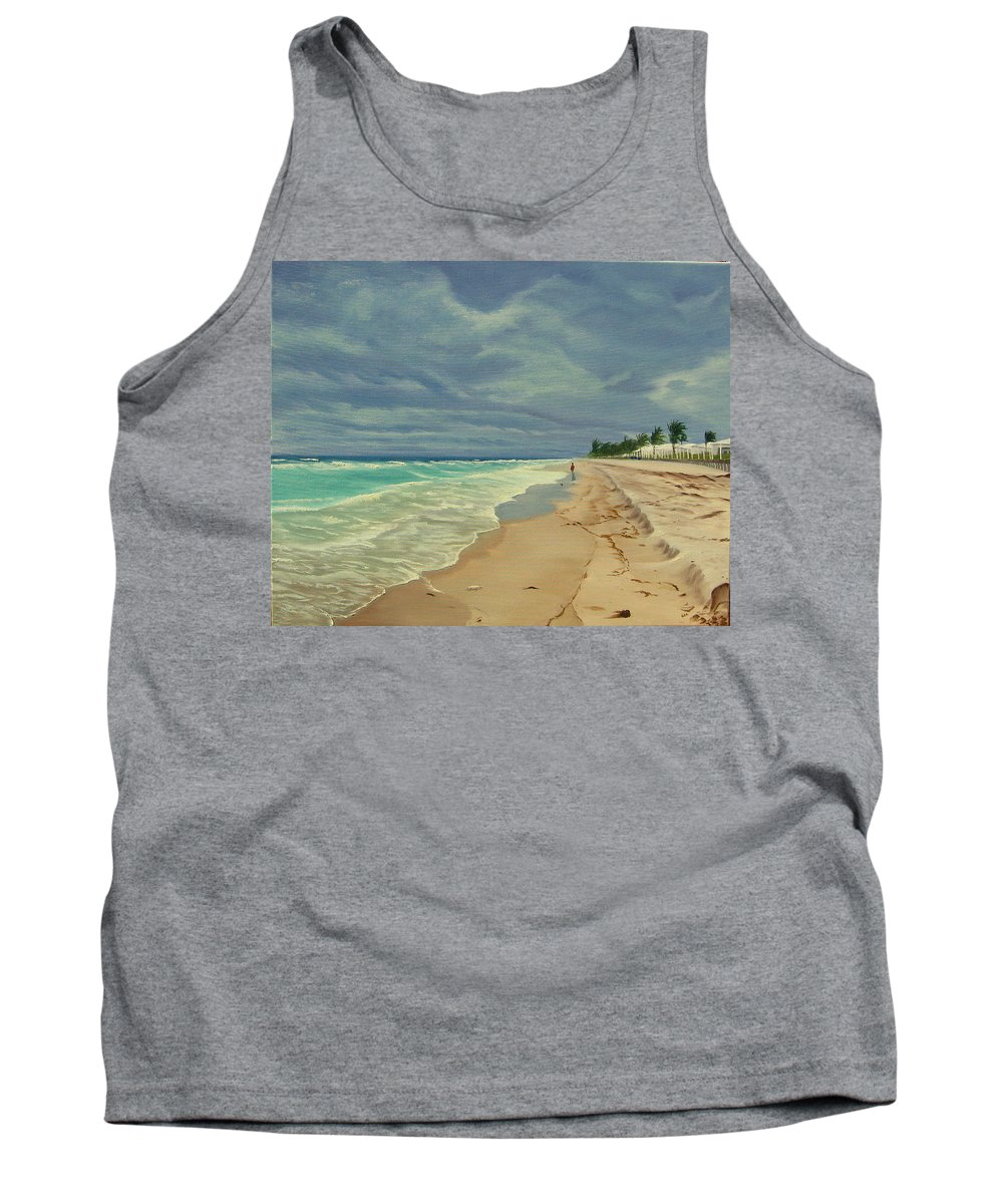 Beach Tank Top featuring the painting Grey Day on the Beach by Lea Novak