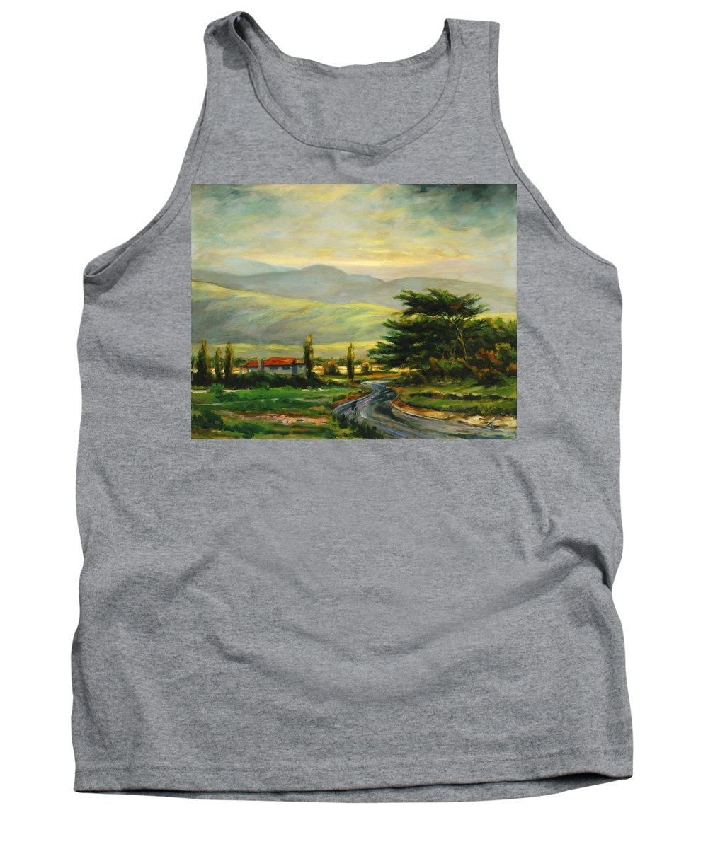 Trees Tank Top featuring the painting Half Moon Bay by Rick Nederlof