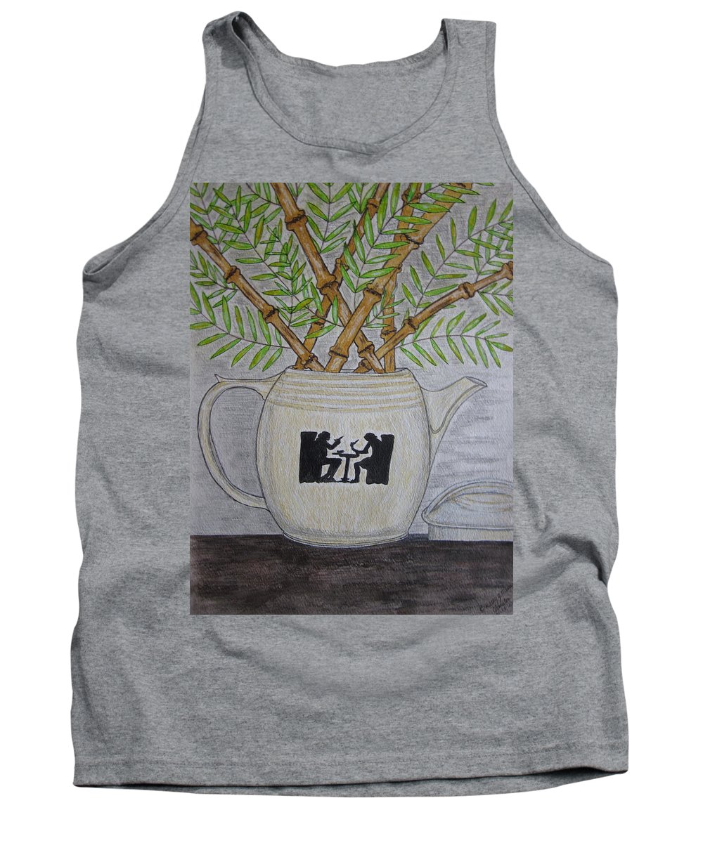 Hall China Tank Top featuring the painting Hall China Silhouette Pitcher With Bamboo by Kathy Marrs Chandler