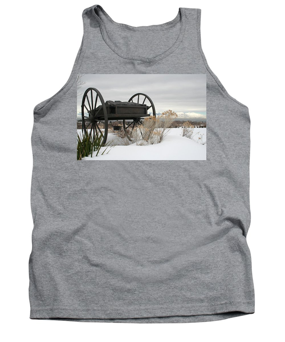 Handcart Tank Top featuring the photograph Handcart Monument by Margie Wildblood
