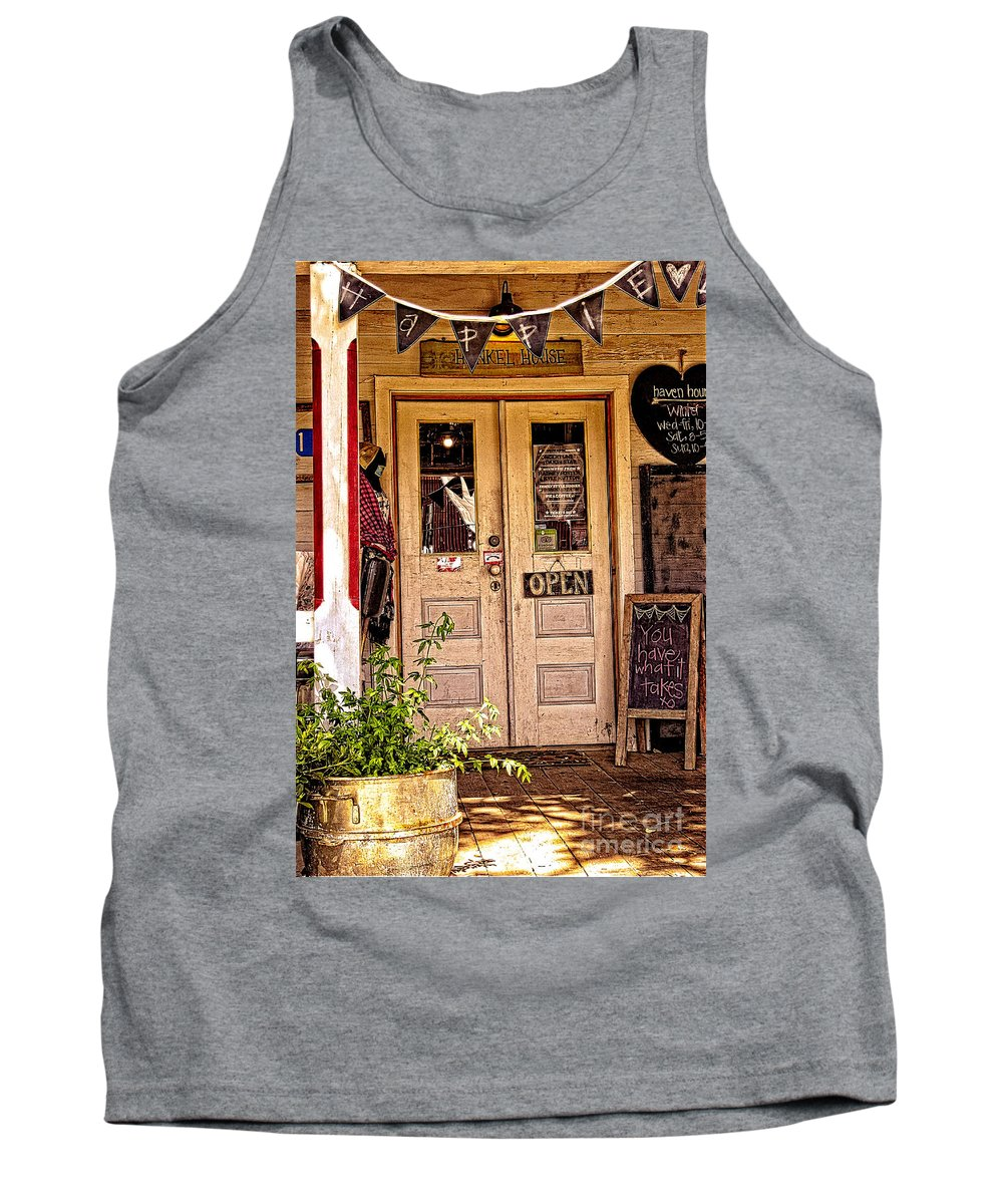 Happy Tank Top featuring the photograph Happy Happie Cottage Haven by Ella Kaye Dickey