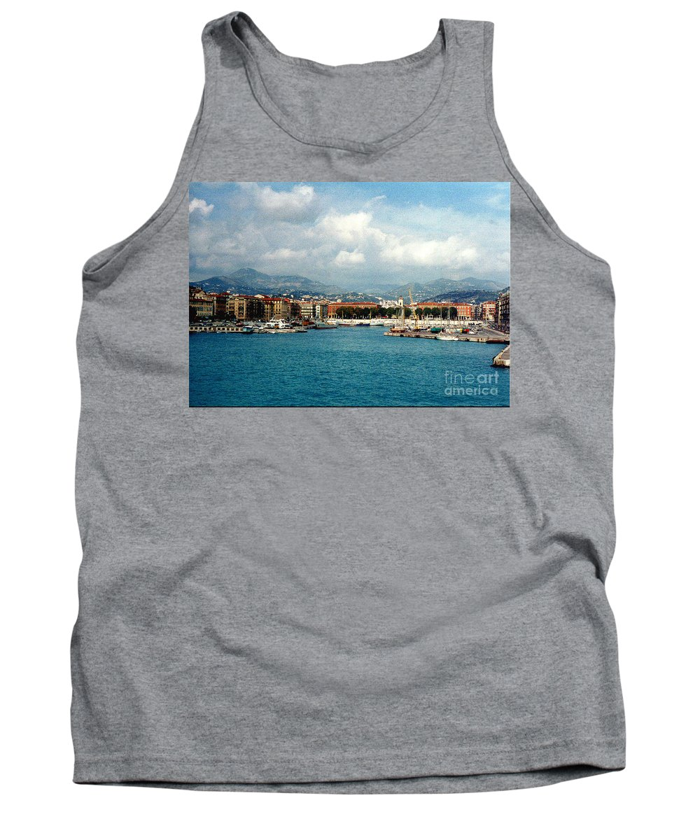 Landscape Tank Top featuring the photograph Harbor Scene In Nice France by Nancy Mueller