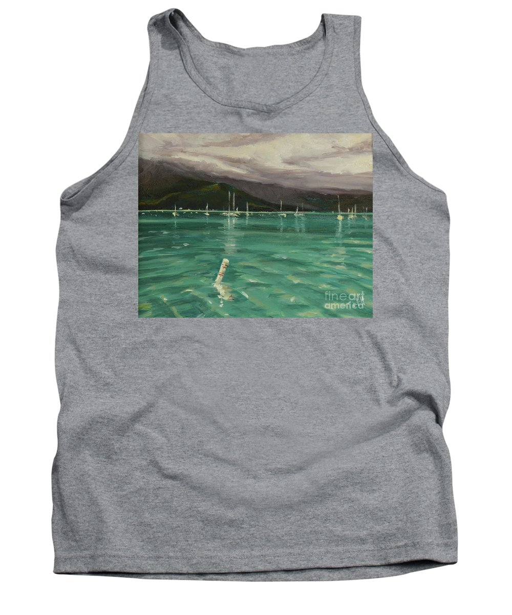 Hanalei Tank Top featuring the painting Harbor View by Laura Toth