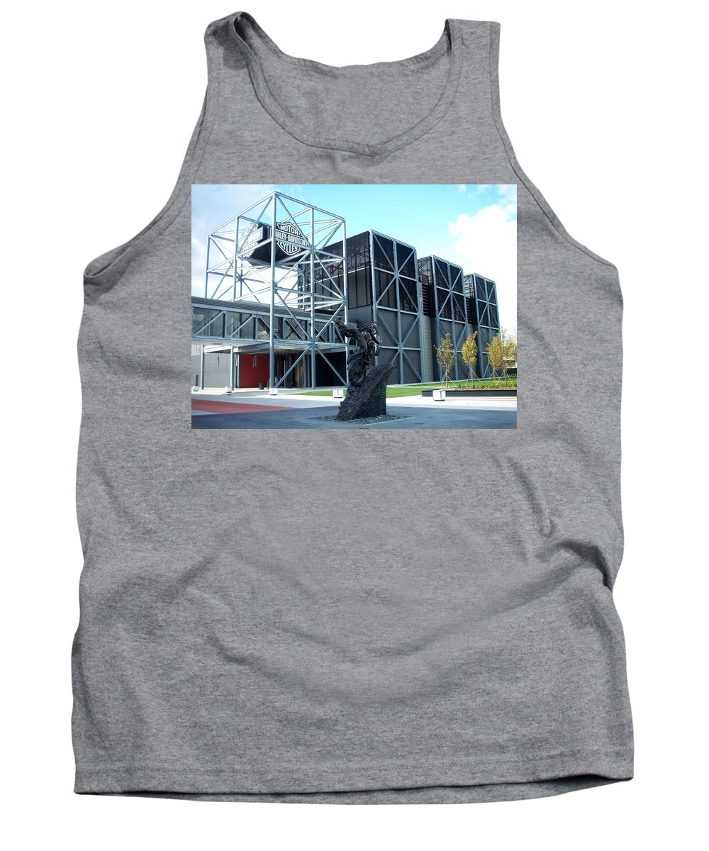 Architechture Tank Top featuring the photograph Harley Museum And Statue by Anita Burgermeister
