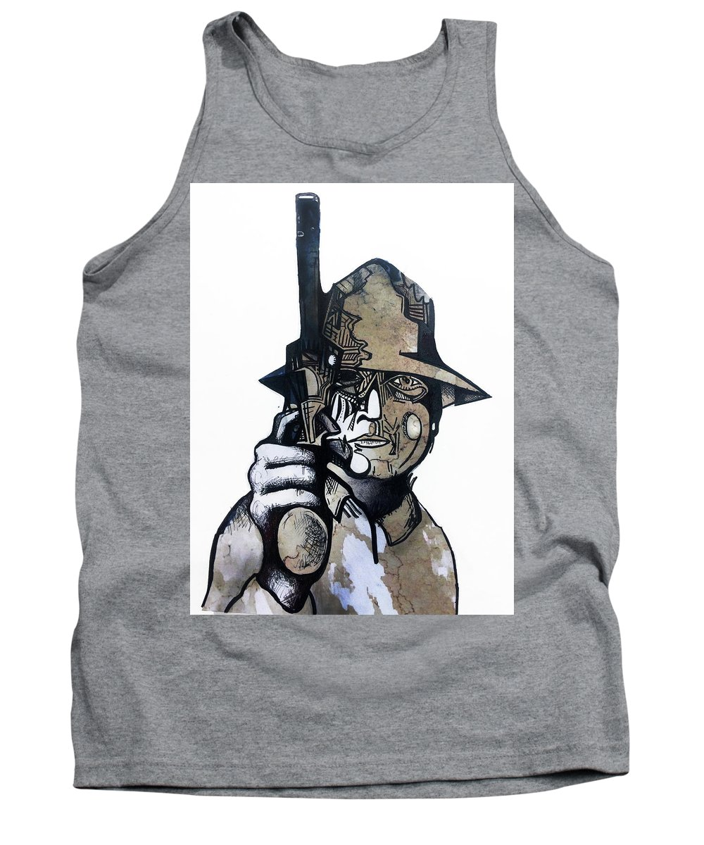 Dirty Harry Tank Top featuring the drawing Harry The Hunter by Luke Barosky