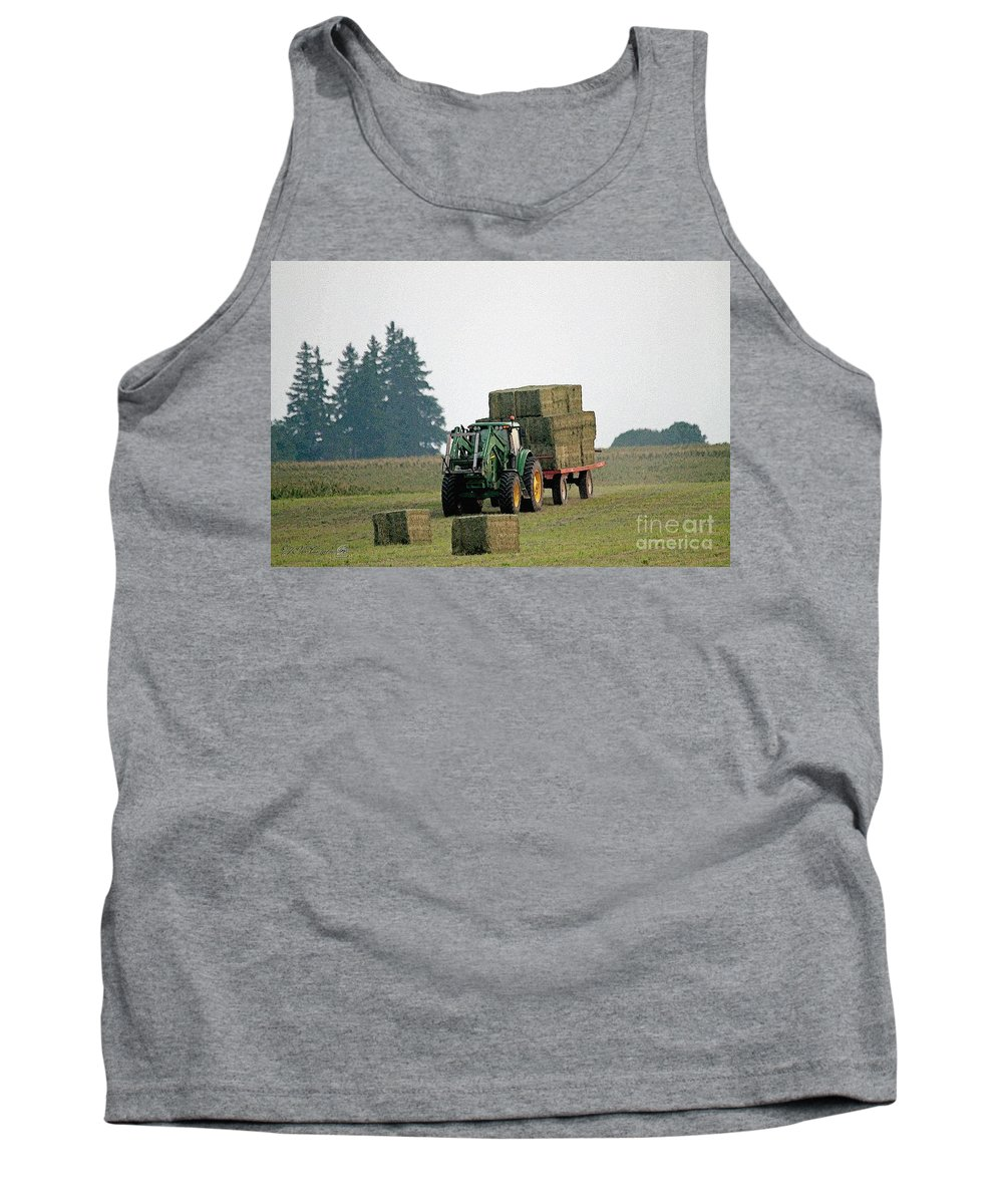 Farm Tank Top featuring the painting Hauling Hay At Dusk by J McCombie