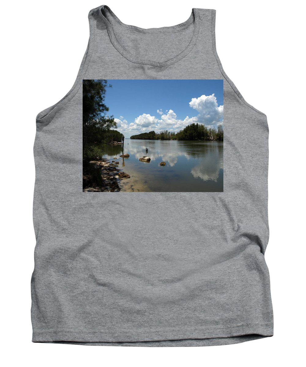 Eco-tourist; Ecotourist; Eco; Tourist; Kayak; Manatee; Sea; Cow; Ecology; Environment; Endangered; S Tank Top featuring the photograph Haulover Canal On The Space Coast Of Florida by Allan Hughes