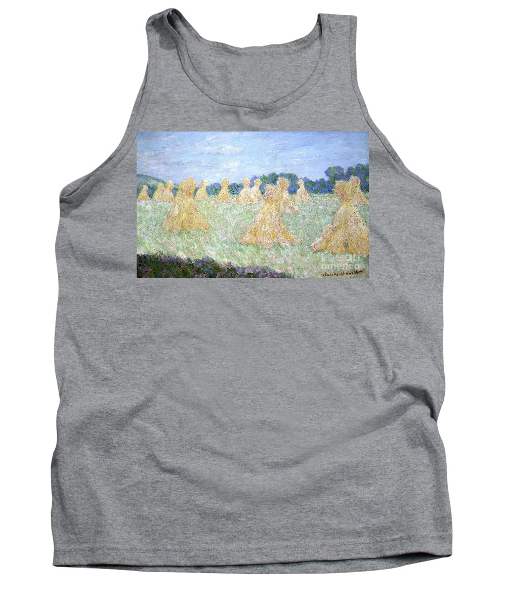 French Tank Top featuring the painting Haystacks The Young Ladies Of Giverny Sun Effect by Claude Monet