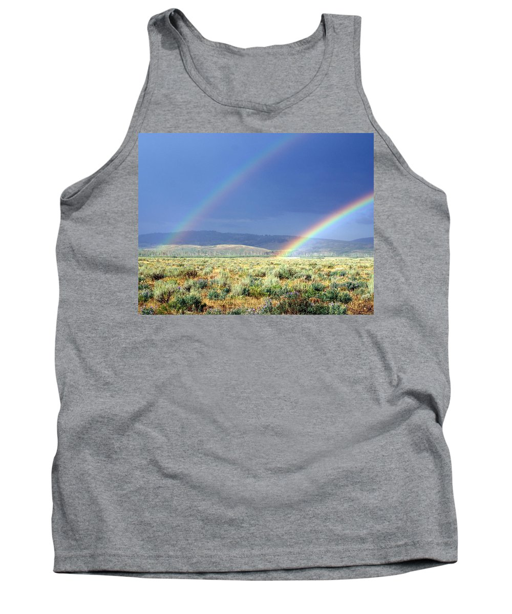 Rainbow Tank Top featuring the photograph High Dessert Rainbow by Marty Koch