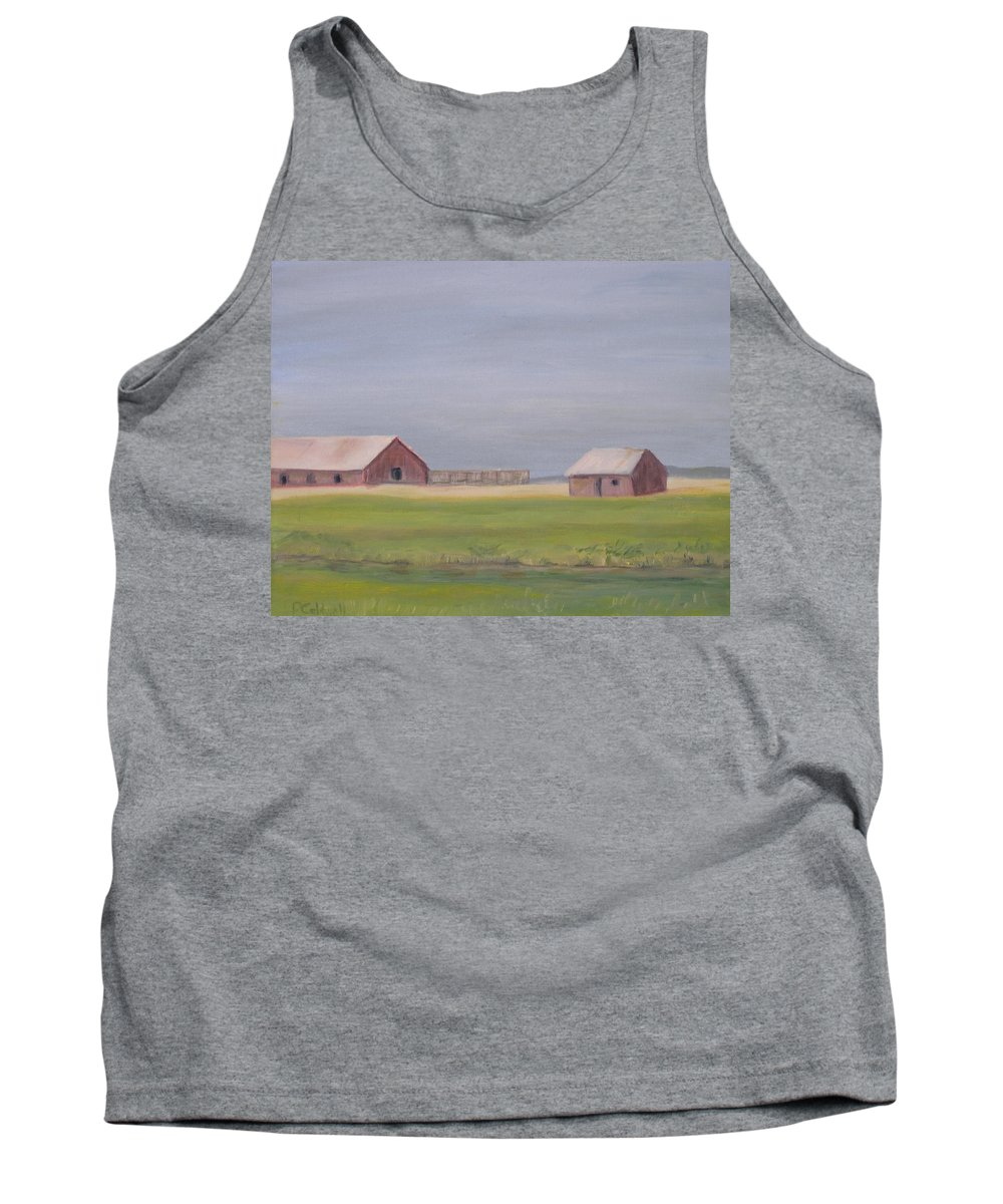 Landscape Plains Barn Tank Top featuring the painting High Plains by Patricia Caldwell