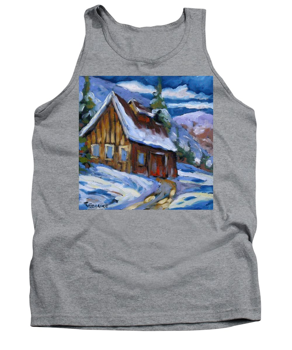Art Tank Top featuring the painting Hillsidebarn In Winter by Richard T Pranke