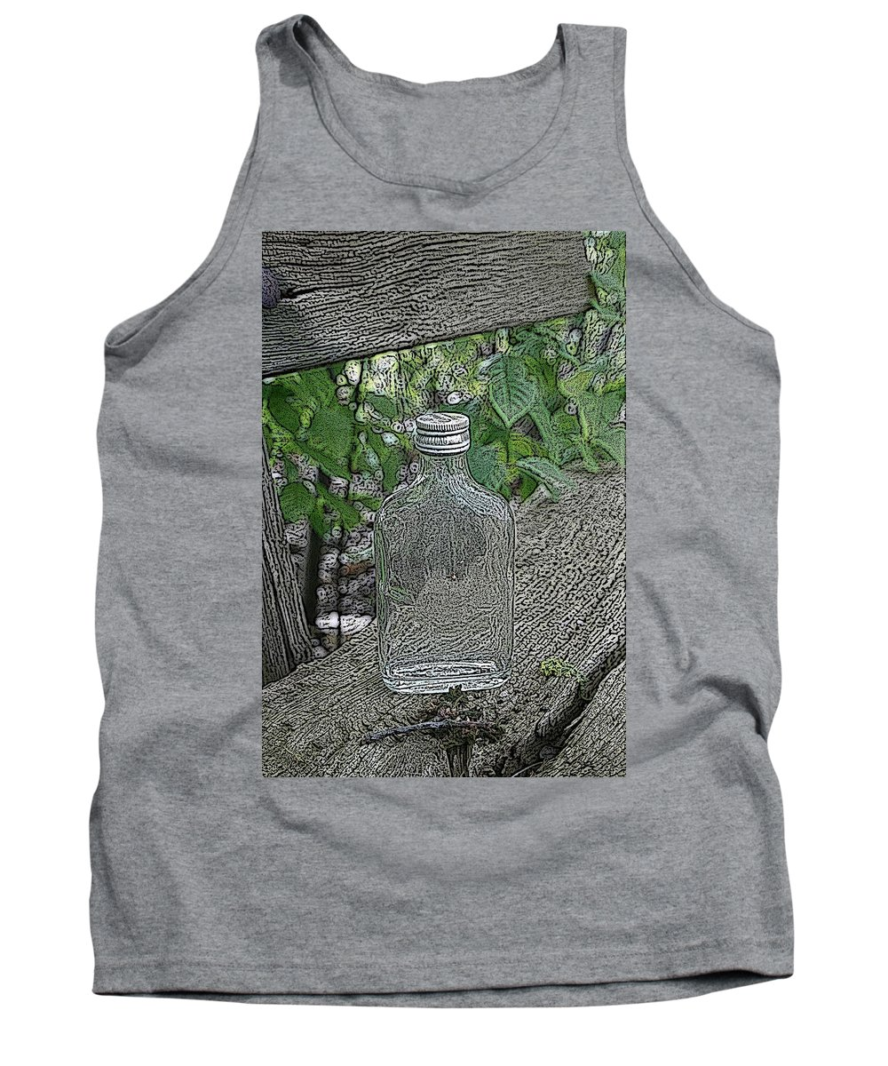 Bottle Tank Top featuring the mixed media His Last Drink by Steve K