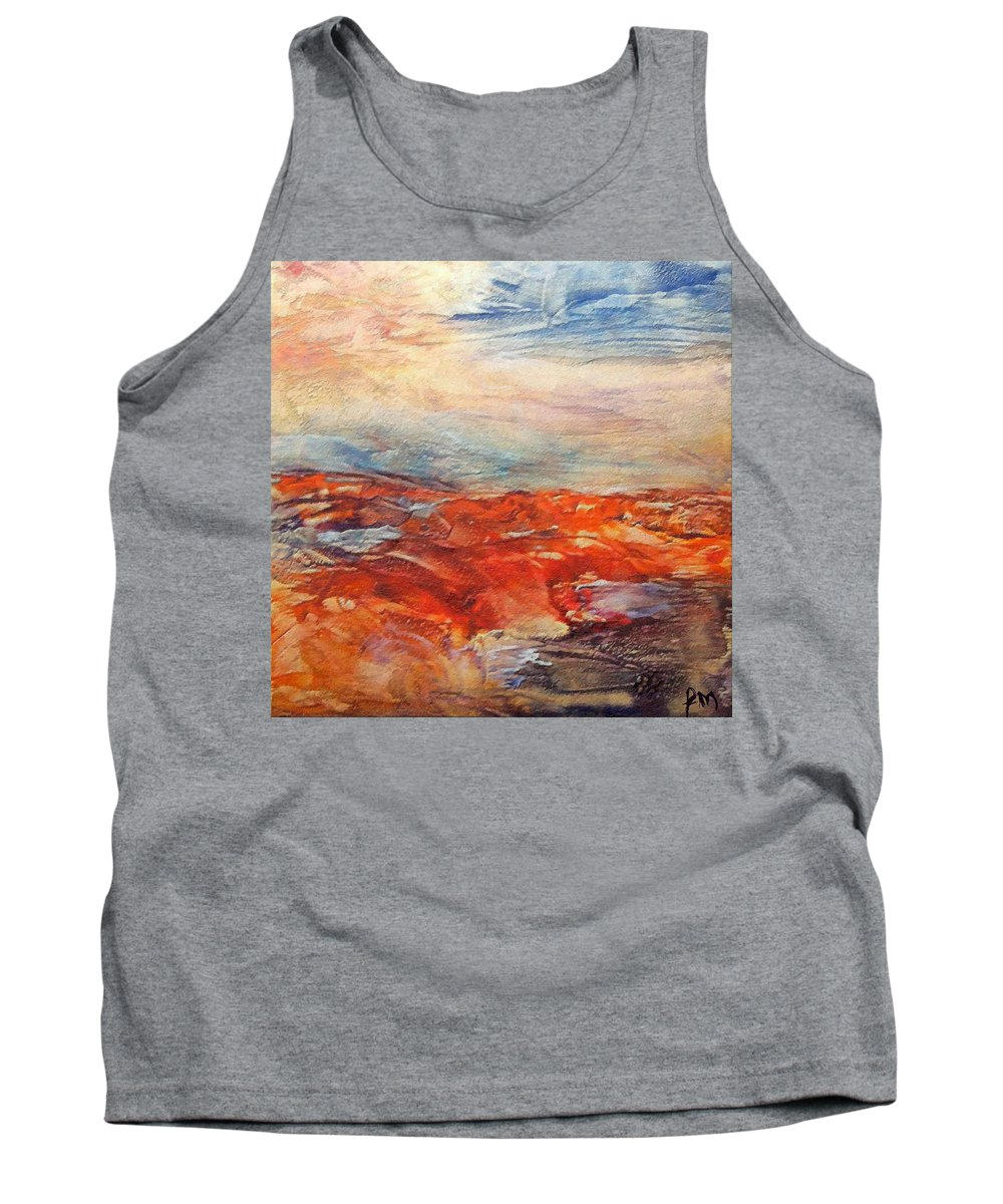 Abstract Landscape Tank Top featuring the painting Histria by Dragica Micki Fortuna