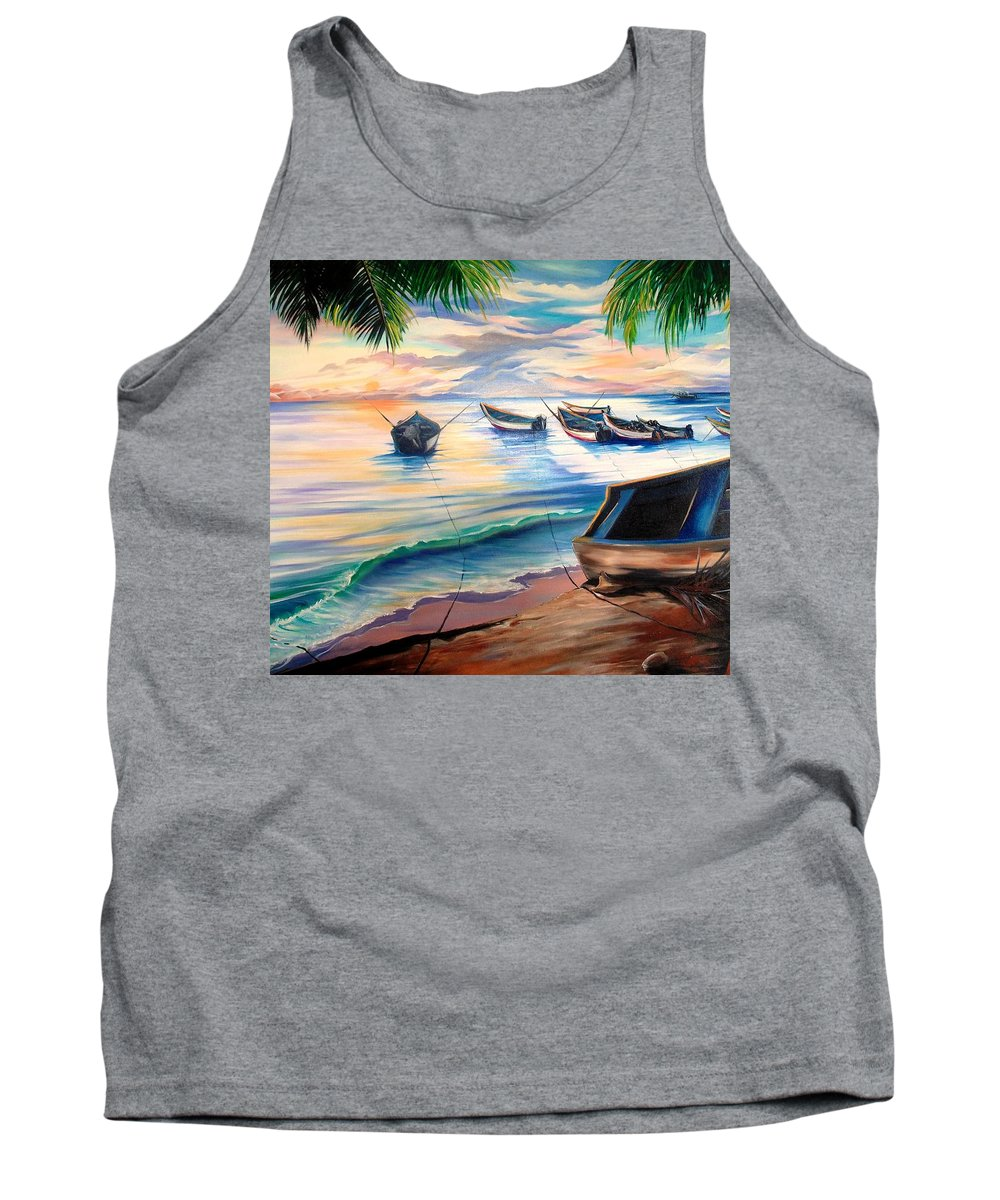 Ocean Painting Caribbean Painting Seascape Painting Beach Painting Fishing Boats Painting Sunset Painting Blue Palm Trees Fisherman Trinidad And Tobago Painting Tropical Painting Tank Top featuring the painting Home From The Sea by Karin Dawn Kelshall- Best