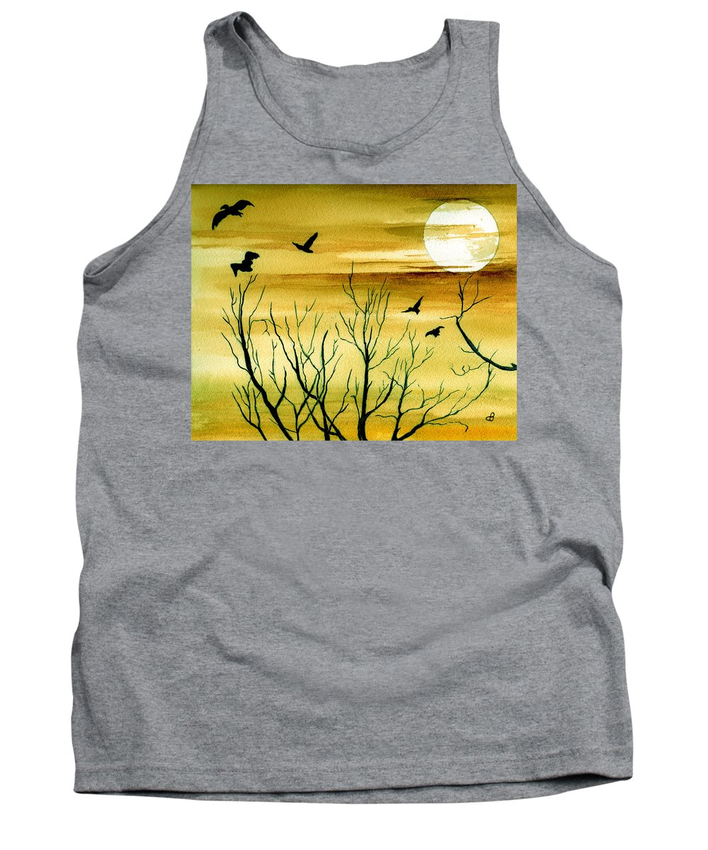 Landscape Watercolor Birds Ravens Crows Trees Sun Sunset Sky Clouds Tank Top featuring the painting Homeward by Brenda Owen