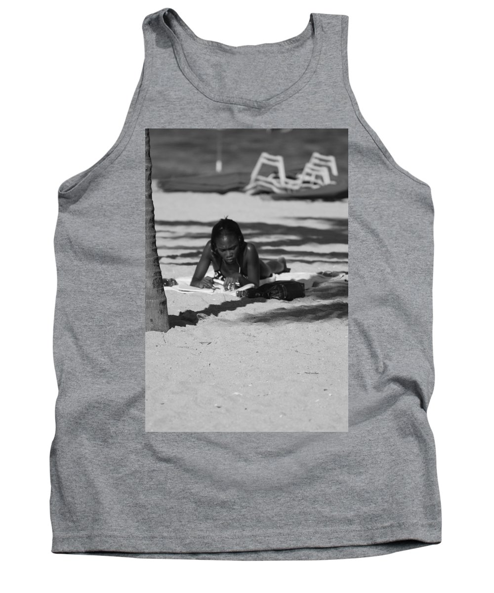 Black And White Tank Top featuring the photograph Homework At The Hollywood Beach by Rob Hans
