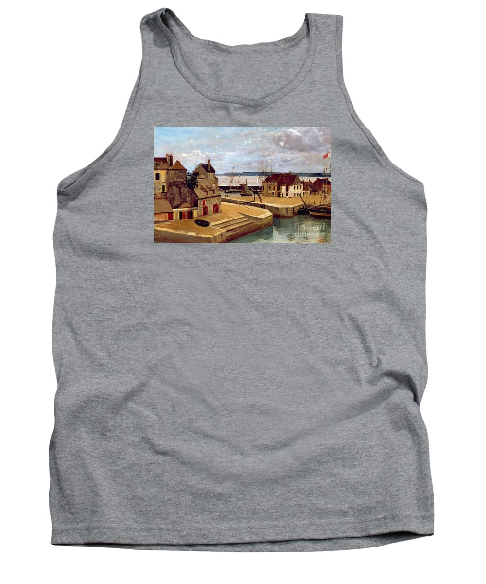 Harbor Tank Top featuring the painting Honfleur Houses On The Quay by Jean Baptiste Camille Corot