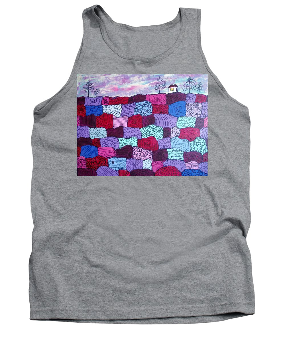 Folk Art Tank Top featuring the painting House On Top Of Patchwork Hill by Wayne Potrafka