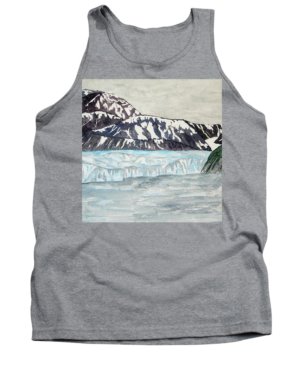 Glacier Tank Top featuring the painting Hubbard Glacier In July by Larry Wright