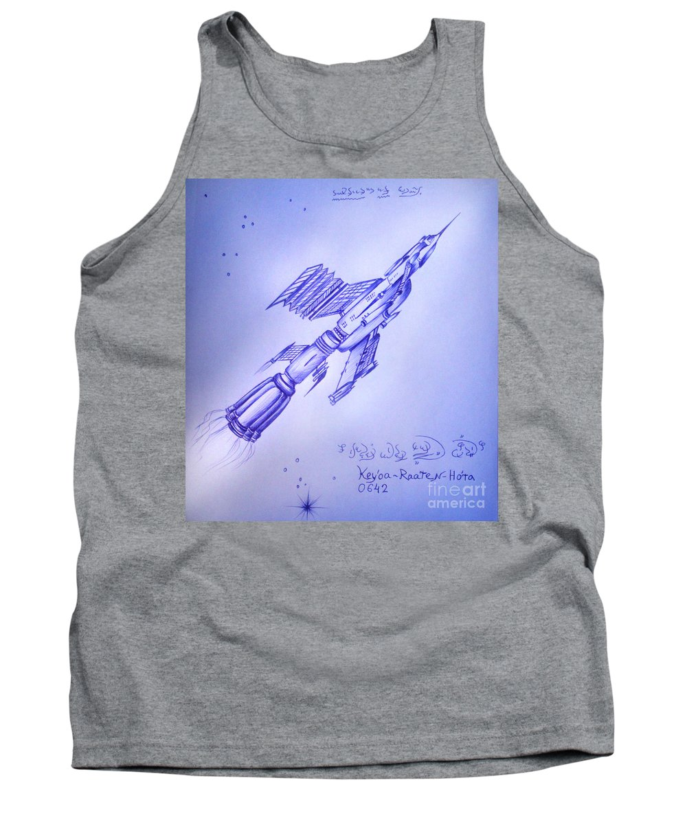 Antiworld Tank Top featuring the drawing Huge Space Shuttle. In Antiworld by Sofia Metal Queen