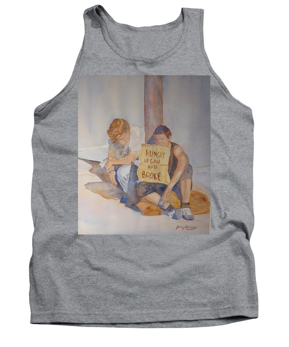 Humorous Tank Top featuring the painting Hungry Vegan And Broke by Jenny Armitage