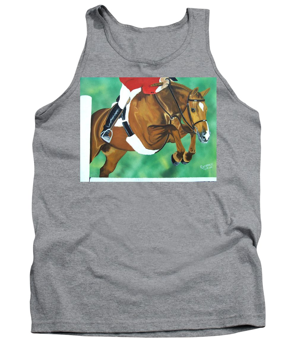 Horse Tank Top featuring the painting Hunter Jumper by Debbie LaFrance