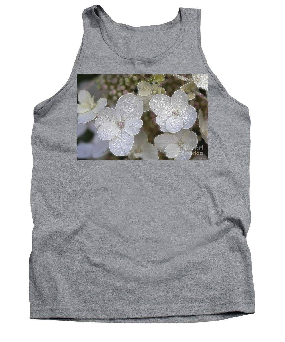 Flowers Tank Top featuring the mixed media Hydrangea Fractalius by Deborah Benoit