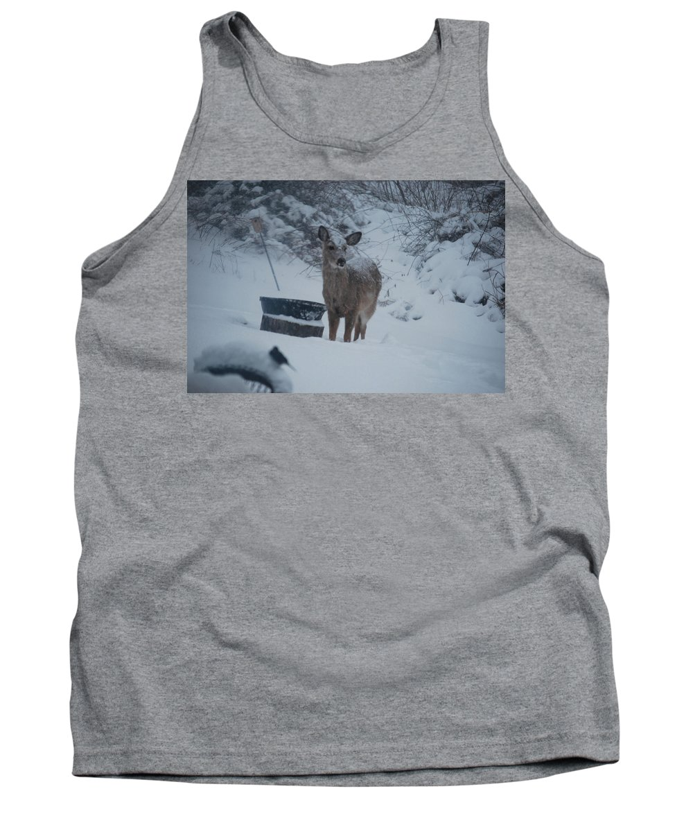 Deer Tank Top featuring the photograph I Love Snow by Lori Tambakis