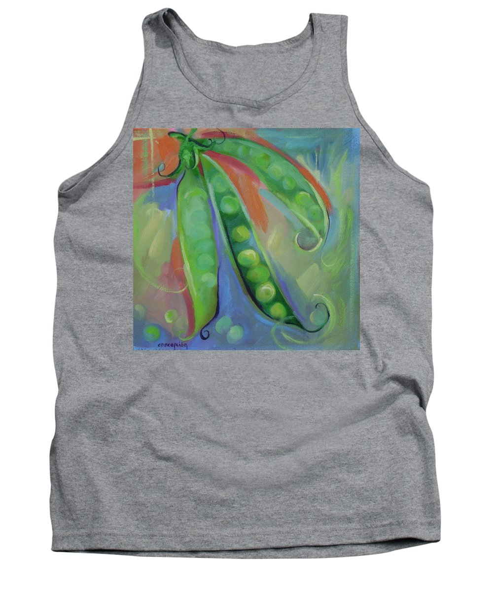 Peas Tank Top featuring the painting I Wish You Peas by Ginger Concepcion