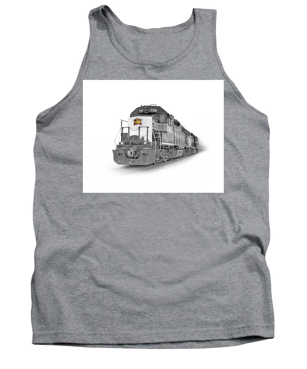 Train Rail Locomotive Loco Diesel Iais iowa Interstate Railroad Art Poster B&w black And White Monochrome Emd Geep Gp38 Gp38-2 Tank Top featuring the photograph Iais 709 Color Herold by David Horst