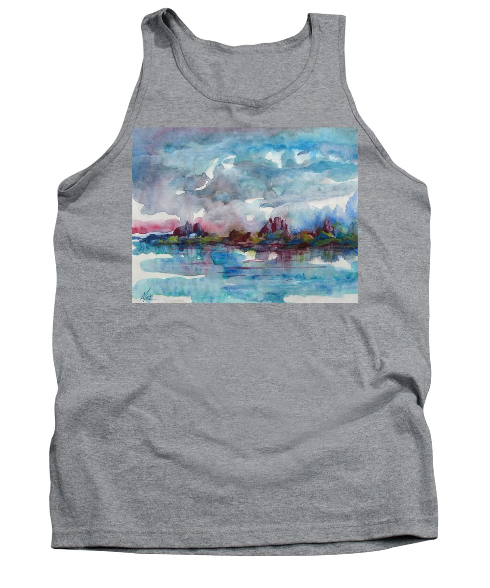 Cool Tank Top featuring the painting Icy Lake by Melody Horton Karandjeff