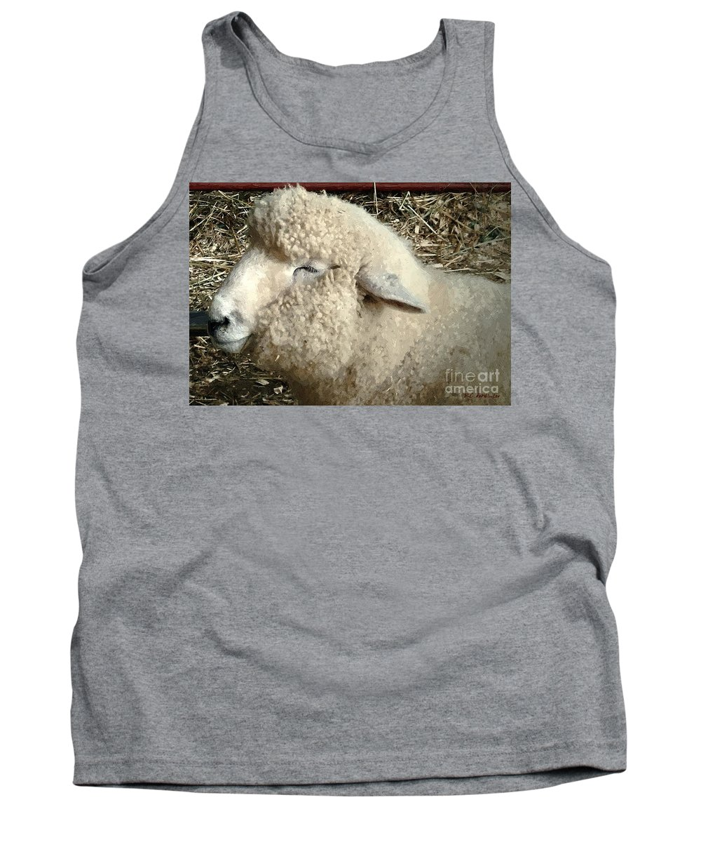 Sheep Tank Top featuring the painting I'm Smilin' Cuz I'm Cute by RC DeWinter