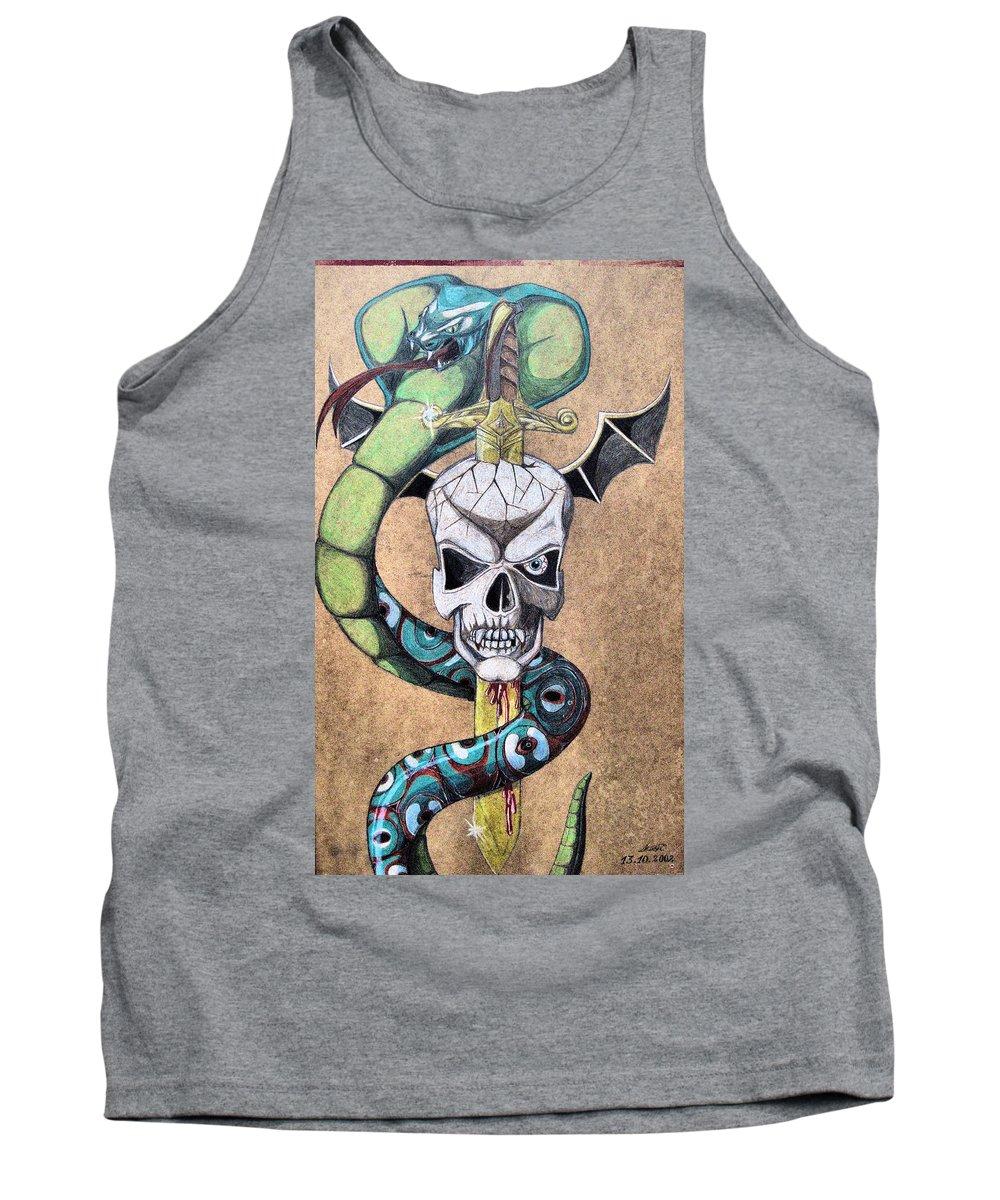 Cobra Tank Top featuring the drawing imaginative Simbol by Alban Dizdari
