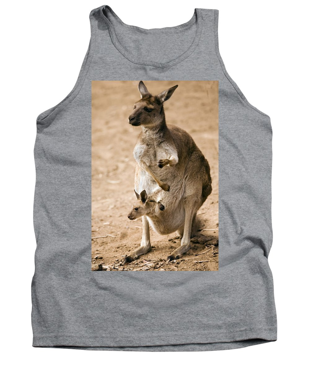 Kangaroo Tank Top featuring the photograph In Mother's Care by Mike Dawson