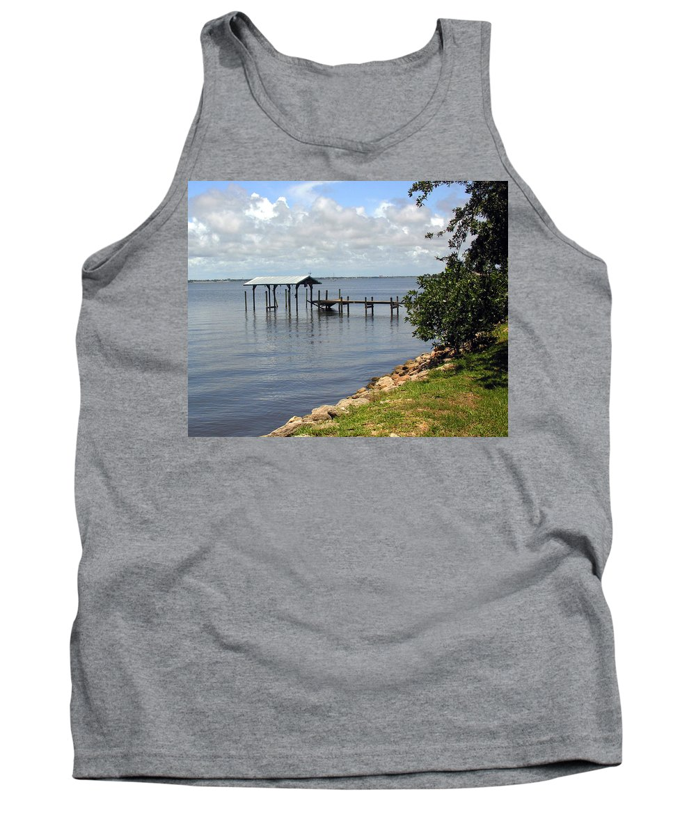 Pier; Wharf; Damaged; Hurricane; Indian; River; Florida; Indialantic; Brevard; Melbourne; Old; Inter Tank Top featuring the photograph Indian River In Indialantic Florida by Allan Hughes