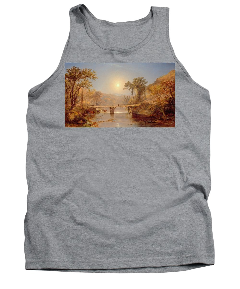 Sun Tank Top featuring the painting Indian Summer On The Delaware River by Jasper Francis Cropsey