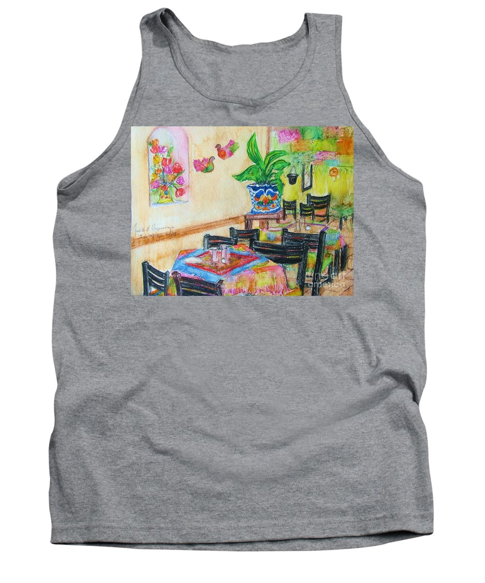 Watercolor Tank Top featuring the painting Indoor Cafe - Gifted by Judith Espinoza